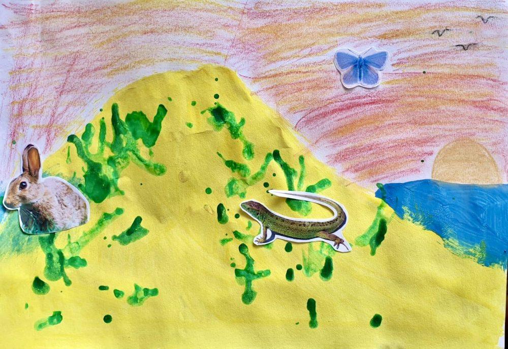 Paint a dunescape, by Leah (age 8)