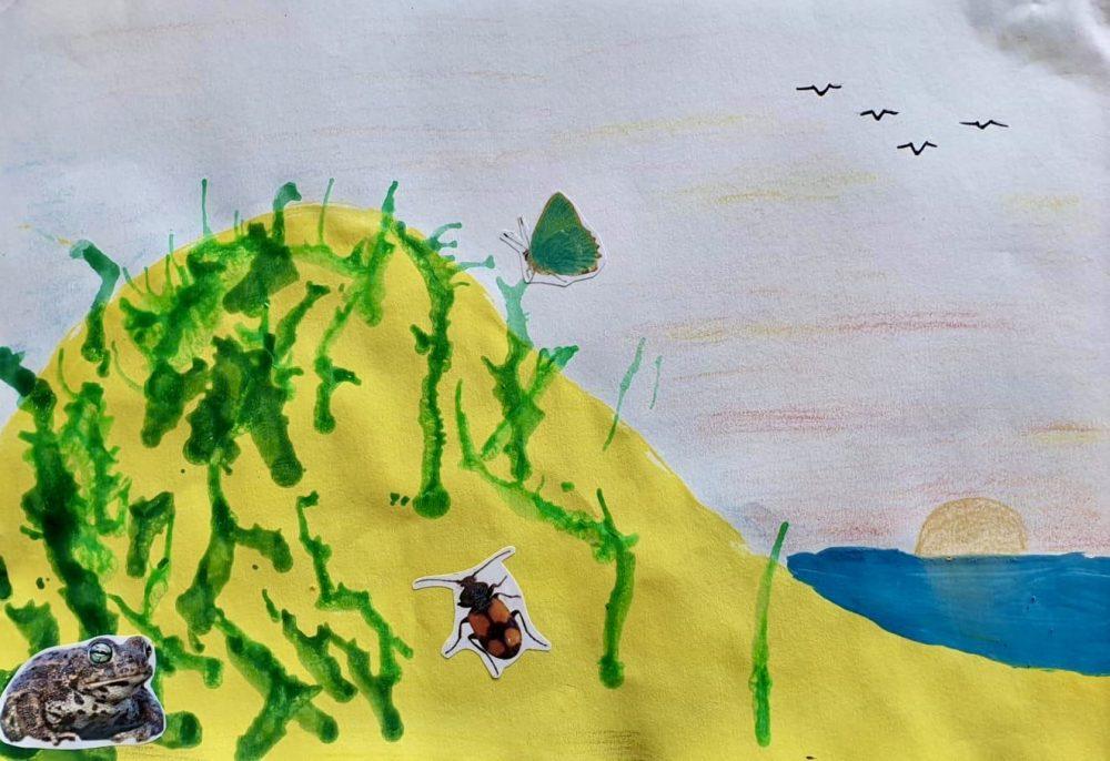 Paint a dunescape, by Hayden (age 10)