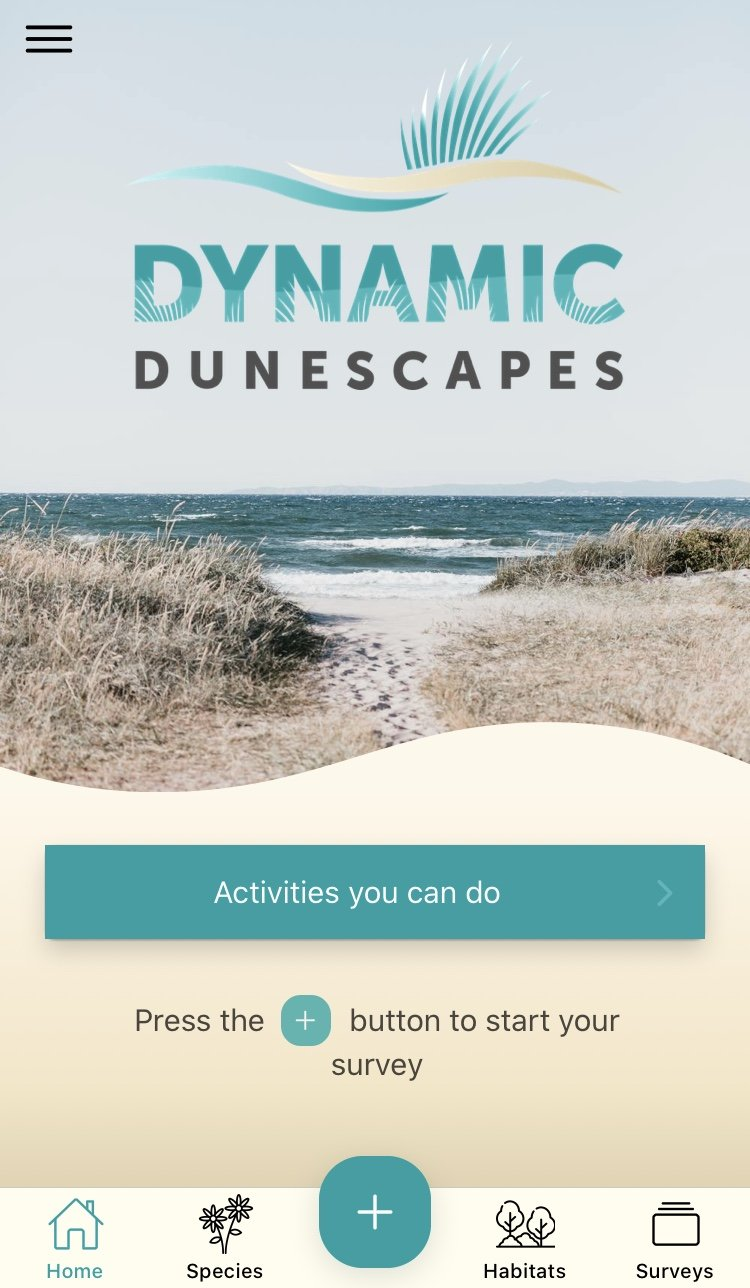 Screen-grab of the home screen of the Dynamic Dunescapes app, featuring the logo and an image of sand dunes and the sea