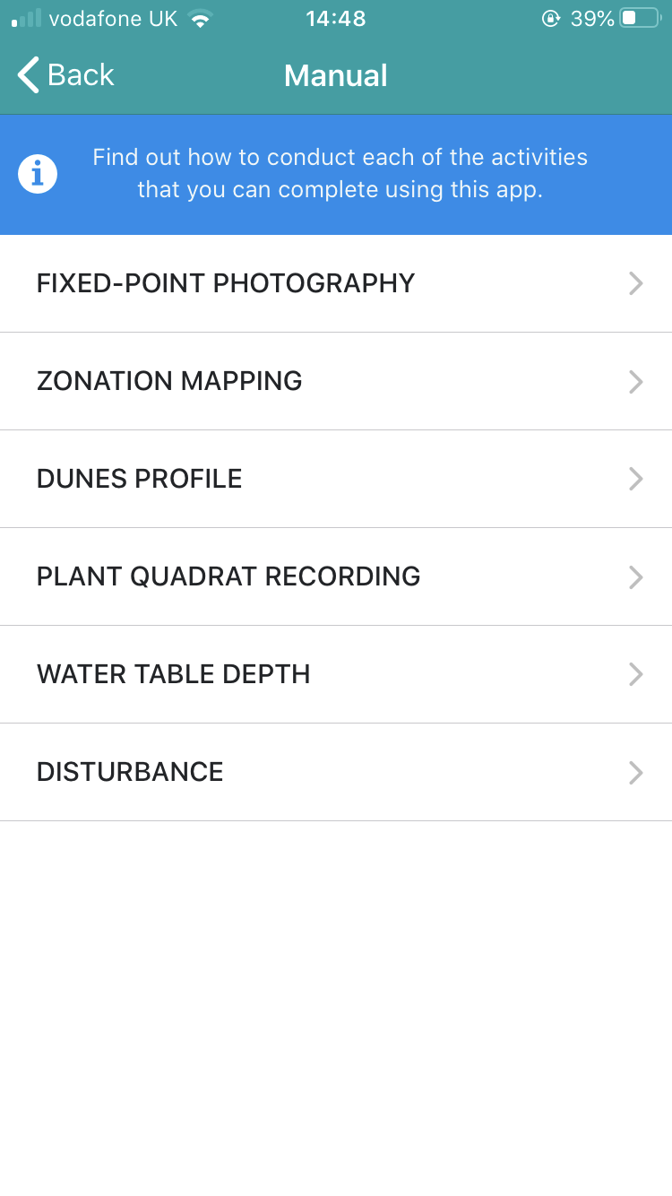 Screen-grab of the Dynamic Dunescapes app page showing the different surveys you can underake