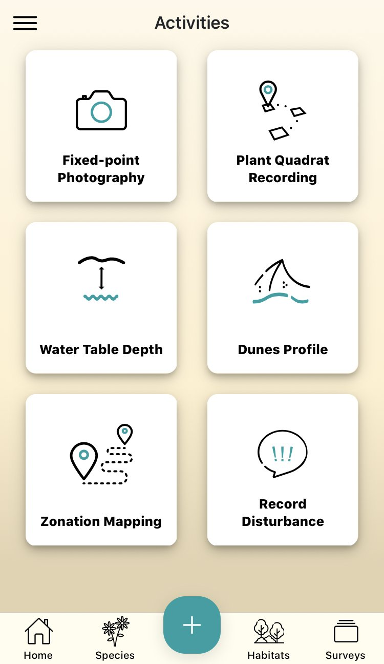 A screen-grab of the inside of the Dynamic Dunescapes citizen science app, showing the different activities that you can complete