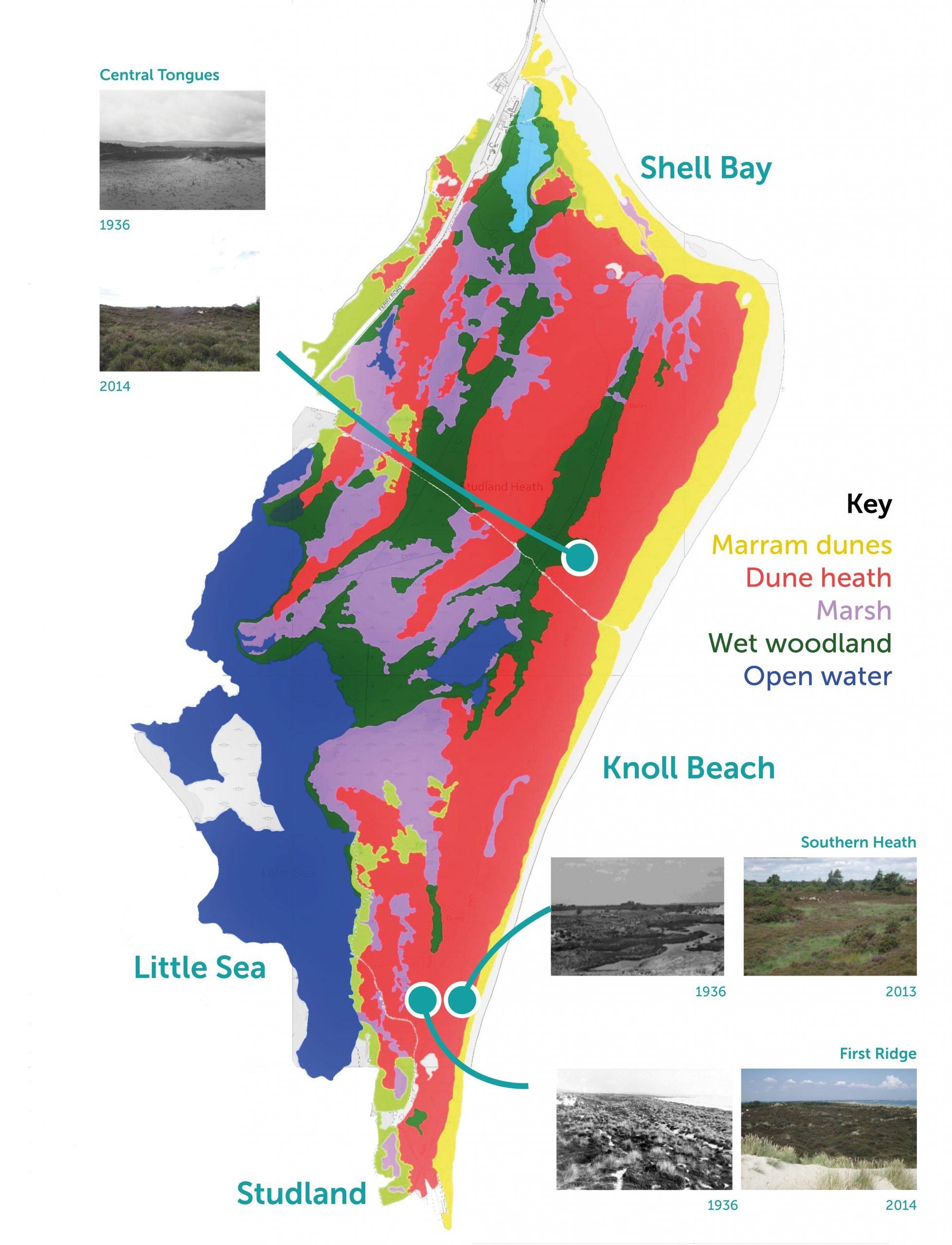 Studland Map with comparison photos