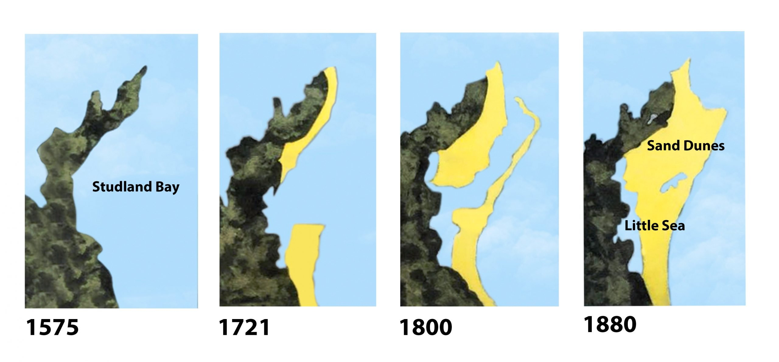 A series of arial maps showing Studlands dunes through times