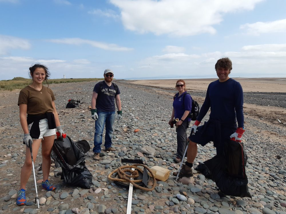 Left to right - Naomi Sanderson, Jonathan Hulse, Michelle Waller and Bob O'Neil at beach clean at South Walney Nature Reserve