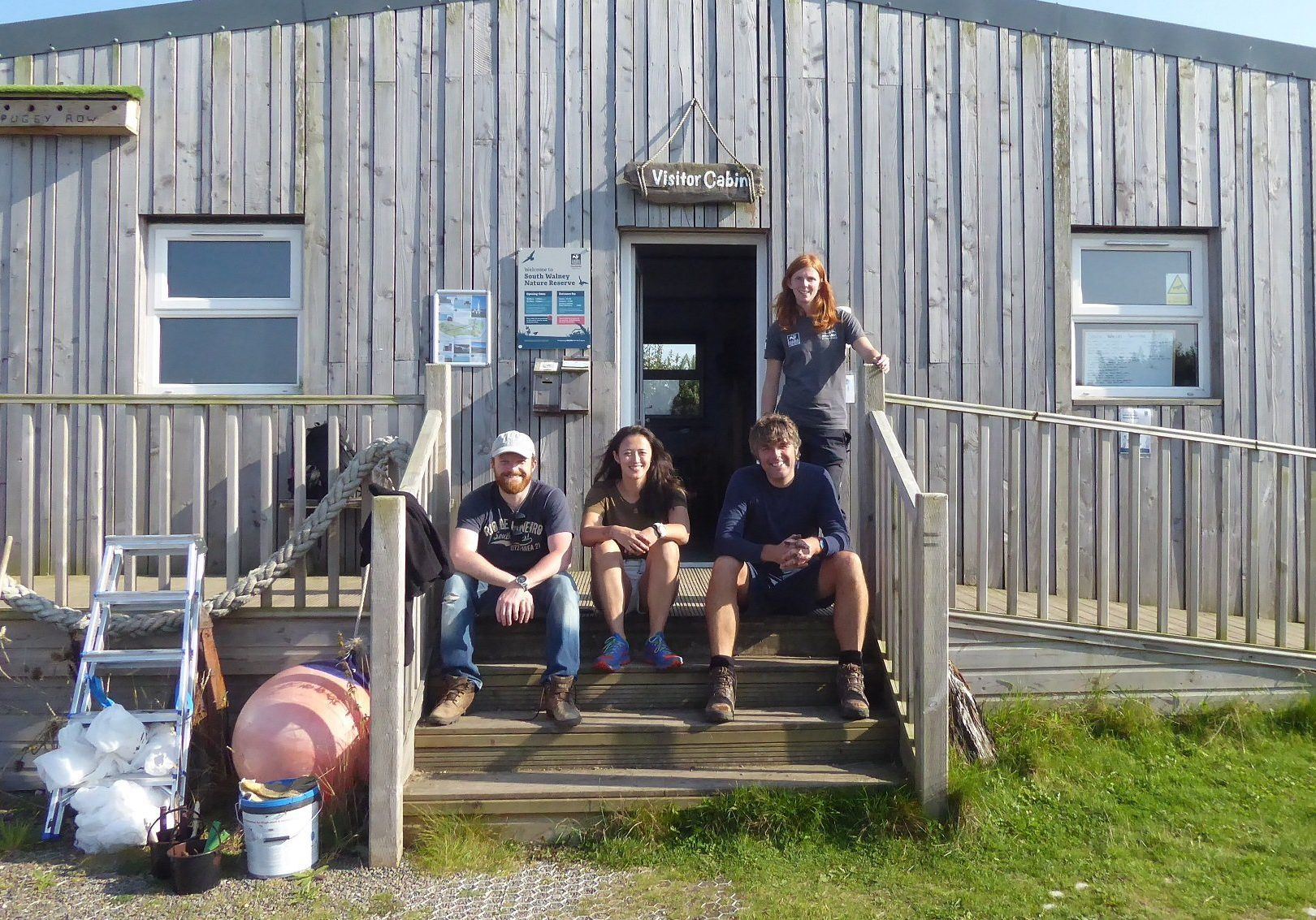 Left to right - Jonathan Hulse, Naomi Sanderson, Bob O'Neil and Eve Mulholland at South Walney Nature Reserve