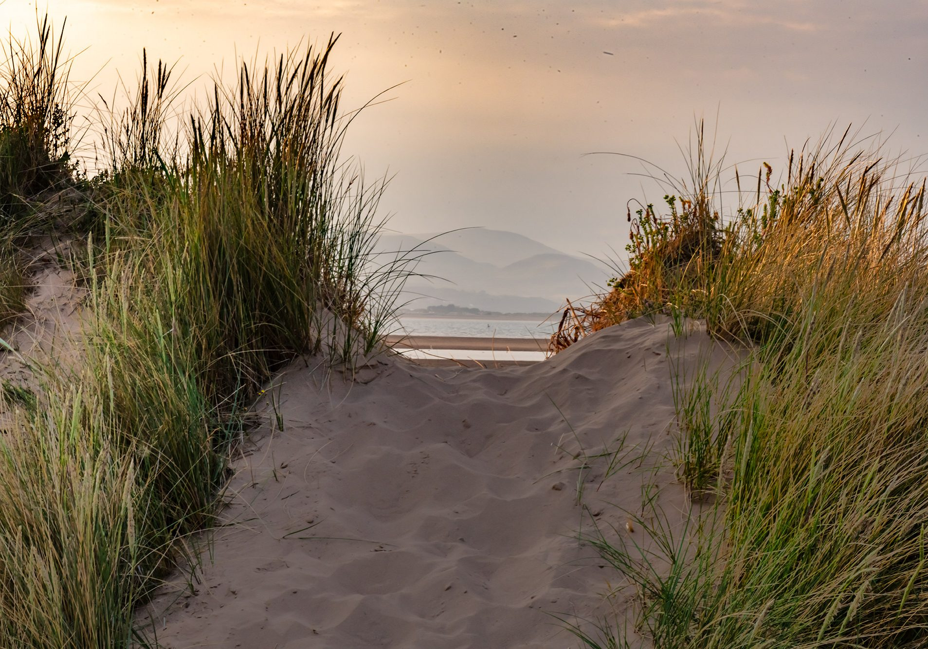 Lakeland fells framed by the dunes at Roanhead