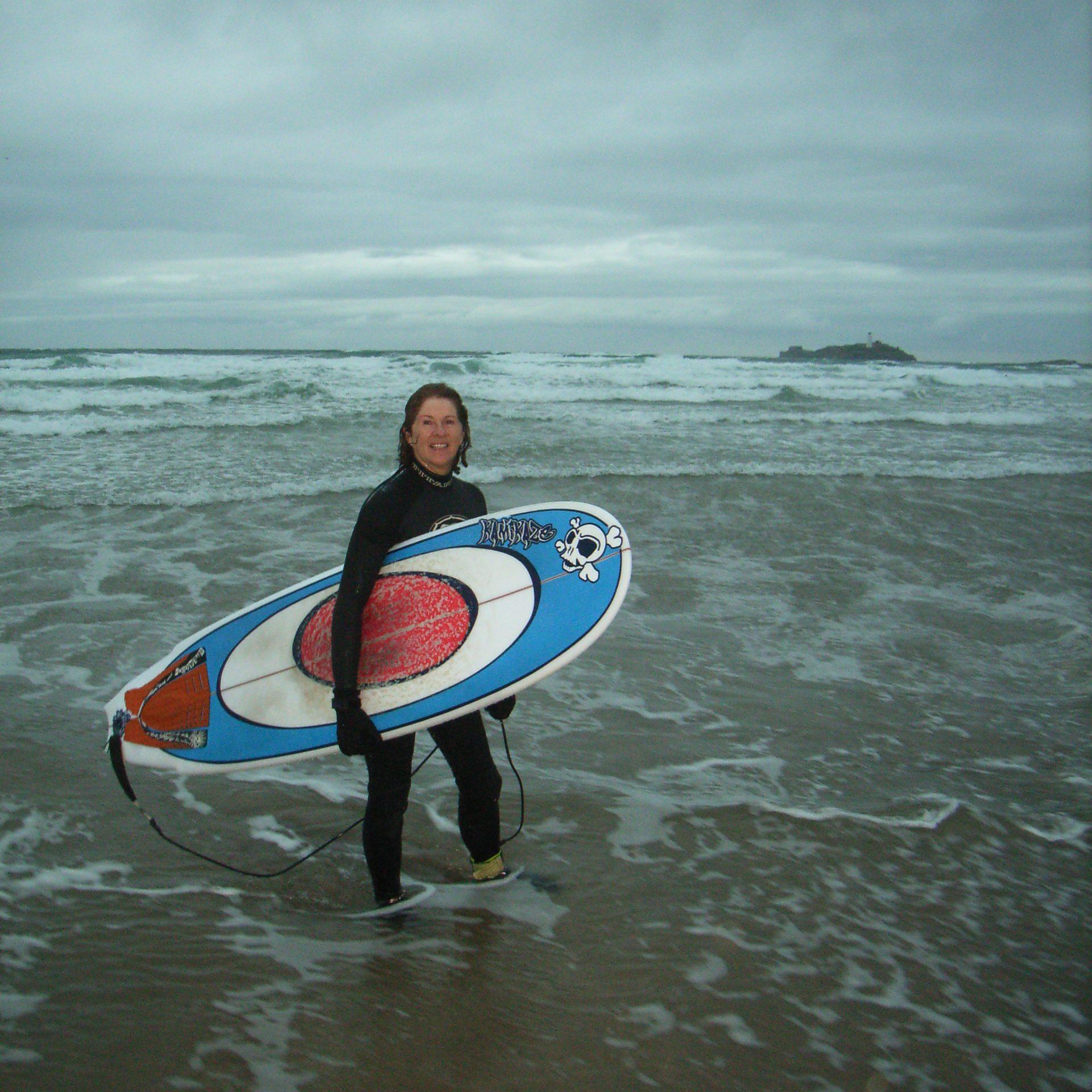 Sally surfing