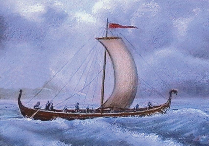 A Viking ship, painted by Peter Herring