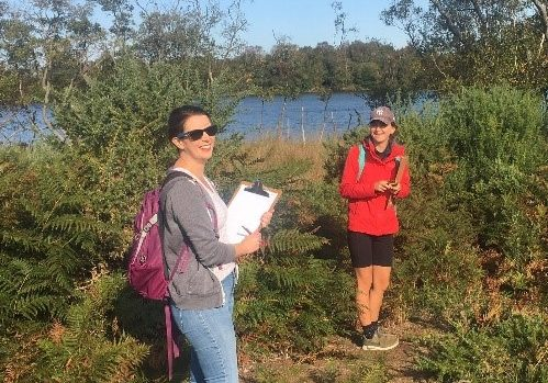 two people in the dunes with clipboards completing citizen science activities